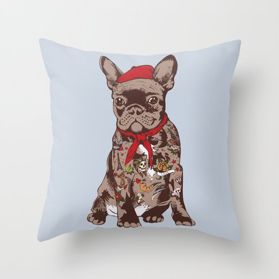 French Bulldog Tattoo Throw Pillow