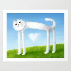 Skinny Cat With Cloud Heart Art Print