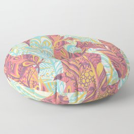 Modern abstract pink teal yellow hand painted bohemian feathers Floor Pillow