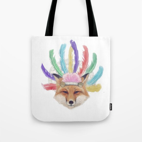 Fox In a Headdress  Tote Bag