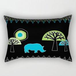 African Rhino (Cool colors) Rectangular Pillow