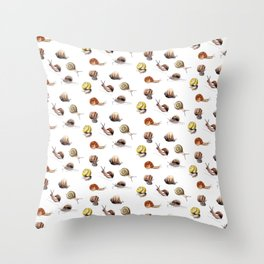 Snail party Throw Pillow