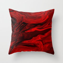Blood Red Marble Throw Pillow