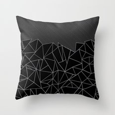 Ab Lines 45 Grey and Black Throw Pillow