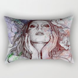 The Withering Spring: Wine (nude tattooed girl with flowers) Rectangular Pillow