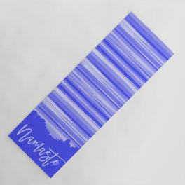 Girly Artsy Ocean Blue Abstract Stripes Yoga Mat