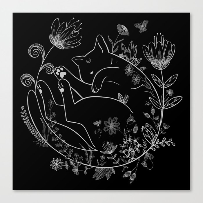 Sleeping Beauty magical black cat in flowers lineart Luna Canvas Print