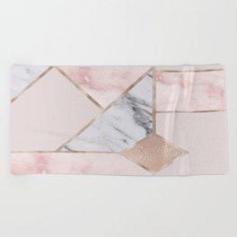 Geometric mix up - rose gold Beach Towel