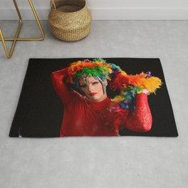 Drag Queen in Rainbow Headdress Rug
