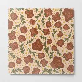 cream orange rustic flower pattern Metal Print