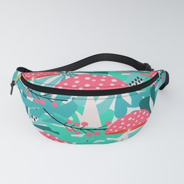 Cheerful mushrooms and flowers Fanny Pack