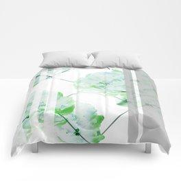 Abstract Geometric Lines Green Peonies Flowers Design Comforters