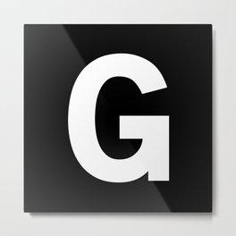 Letter G (White & Black) Metal Print