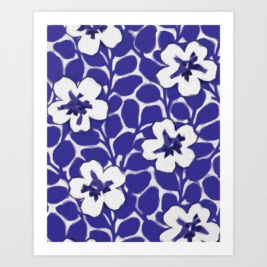 Painted Floral (Blue) Art Print