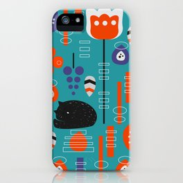 Modern birds and sleepy cats iPhone Case