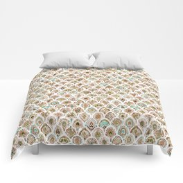 PEACOCK MERMAID Rose Gold Mint Scales and Feathers Comforters