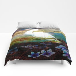 Egret In The Wilderness By Annie Zeno Comforters