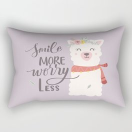 SMILE MORE, WORRY LESS! - Sweet lavender quote Rectangular Pillow