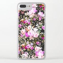 Elegant vintage bright pink floral faux gold confetti Clear iPhone Case