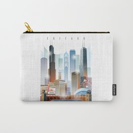 Chicago city skyline painting Carry-All Pouch