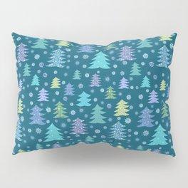 Winter Holidays Christmas Tree Green Forest Pattern Pillow Sham