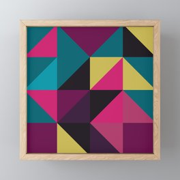 Triangle Shapes Texture, Retro Style, Purple, Turquoise, Yellow, Pink and Black Framed Mini Art Print