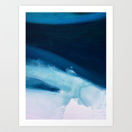 Believe: a minimal, abstract painting in white and blue by Alyssa Hamilton Art  Art Print
