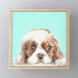 Cavalier King Charles Spaniel Dog Watercolor Pet Portrait Framed Mini Art Print