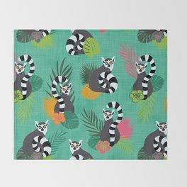 Tropical Lemurs Aquamarine Throw Blanket