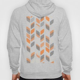 Modern Rectangle Print with Retro Abstract Leaf Pattern Hoody