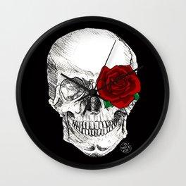 Rose Skull Black Wall Clock