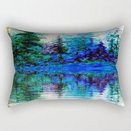 BLUE SCENIC MOUNTAIN PINES LAKE REFLECTION ART  PATTERNS Rectangular Pillow