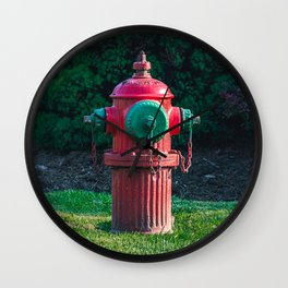 TCIW Fluted Fire Hydrant Red and Green Traverse City Iron Works Fireplug Wall Clock