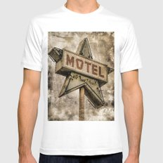 Vntage Grunge Star Motel Sign Mens Fitted Tee White MEDIUM