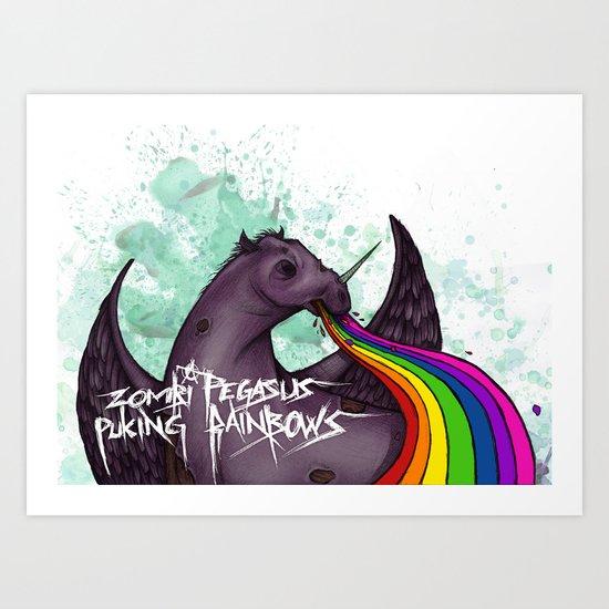 Zombie pegasus puking a rainbow Art Print
