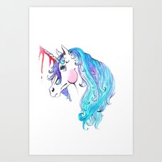 Cabin In the Woods Unicorn Art Print