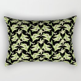 Black Vintage-Style Lily-of-the-Valley Pattern Rectangular Pillow