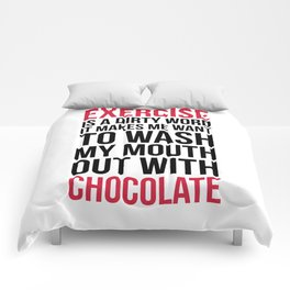 Exercise & Chocolate Funny Quote Comforters