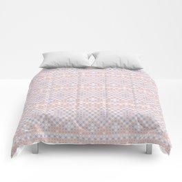 Vintage blush pink blue white cross stitch pattern Comforters