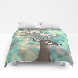 white tailed deer, white breasted nuthatches, & dogwood blossoms Comforters