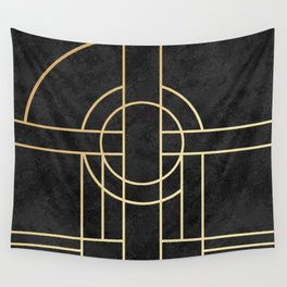 Art Deco Black Marble Wall Tapestry