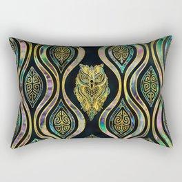 Gold Tribal Owl on Boho Abalone Pattern Rectangular Pillow