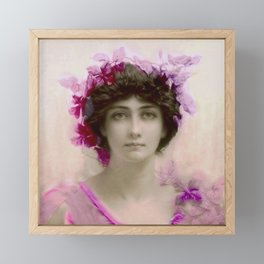 Beautiful,young lady,Belle epoque,victorian era, vintage, angelic girl, beautiful,floral,gentle,peac Framed Mini Art Print