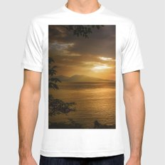 Sunset at Lismore Island White Mens Fitted Tee MEDIUM