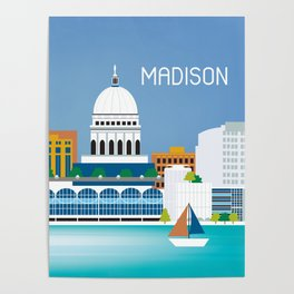 Madison, Wisconsin - Skyline Illustration by Loose Petals Poster