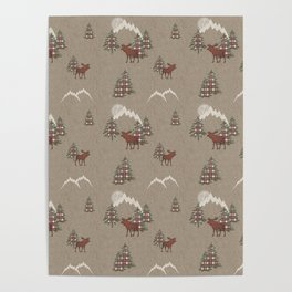 Moose and Mountains Pattern Poster
