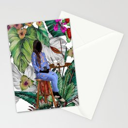 Expressionless woman Stationery Cards