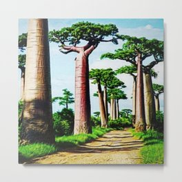 The Disappearing Giant Baobab Trees of Madagascar Landscape Painting Metal Print