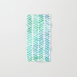 Handpainted Chevron pattern - light green and aqua - stripes Hand & Bath Towel