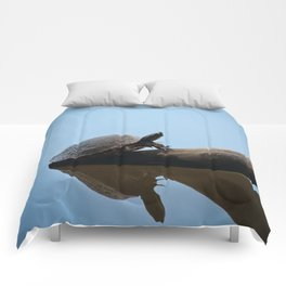 Turtle on The Lake (Color) Comforters